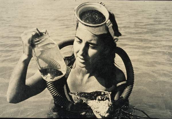 Eugenie Clark with a belted sandfish